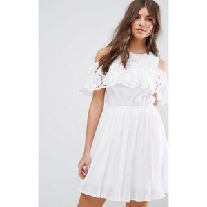 Mini dress with broderie ruffle
